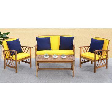 Safavieh Fontana 4-Piece Outdoor Set in Teak Look and Yellow, , large
