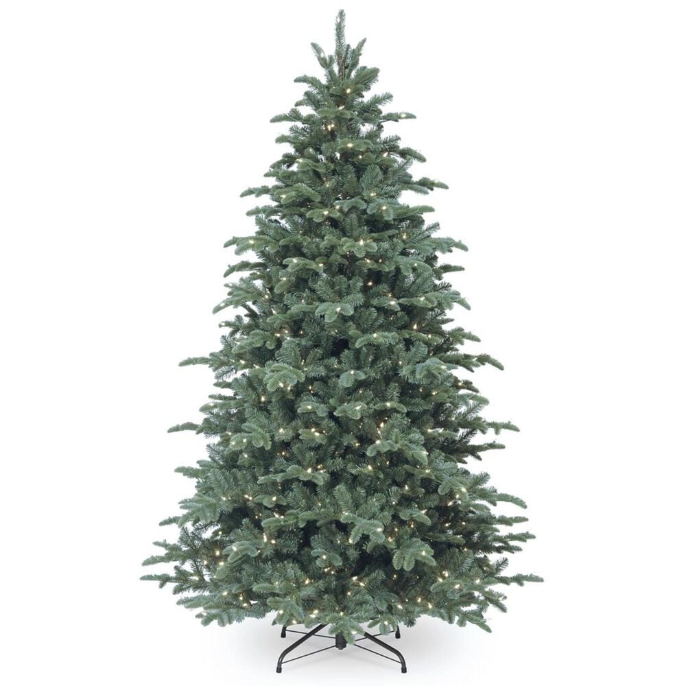 """National Tree 7.5"""" Feel Real Mountain Noble Blue Spruce Hinged Tree with 750 White Lights, , large"""
