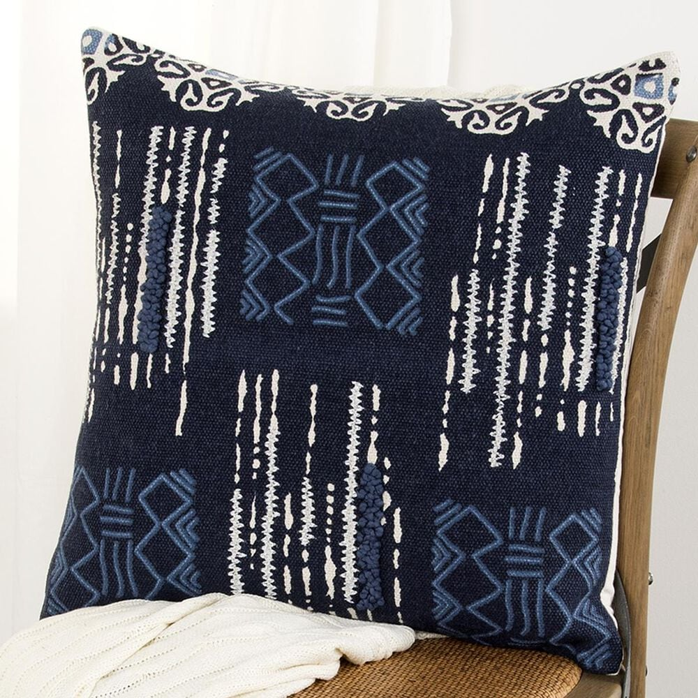 """Rizzy Home Donny Osmond 20"""" x 20"""" Pillow Cover in Indigo with White, , large"""