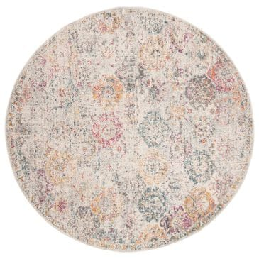 Safavieh Madison MAD611F 5' Round Grey and Gold Area Rug, , large