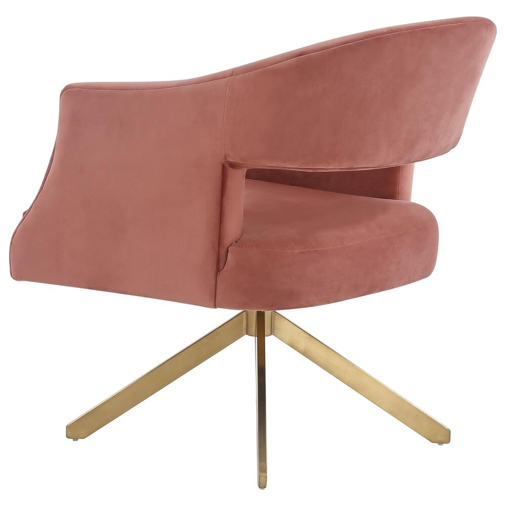 Safavieh Quartz Swivel Accent Chair in Dusty Rose and Gold, , large
