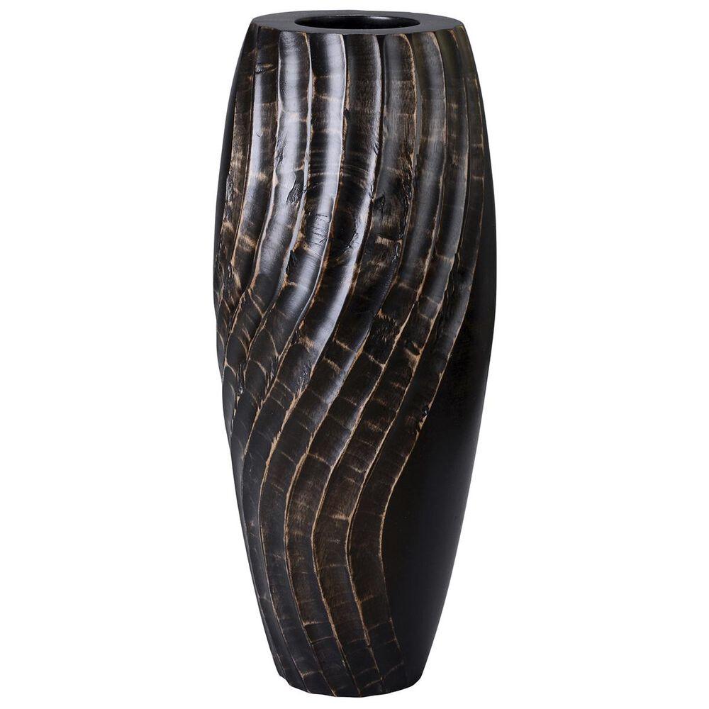"""Timberlake Villacera 14"""" Tall Black Mango Wood Vase in Black, , large"""