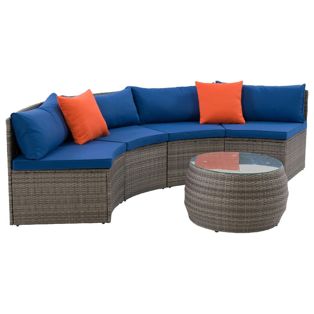 CorLiving Parksville 3-Piece Patio Sectional Set in Blended Grey and Oxford Blue, , large