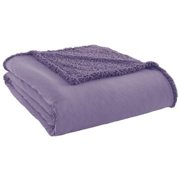 Shavel Home Products Micro Flannel To Sherpa Full/Queen Blanket in Amethyst, , large