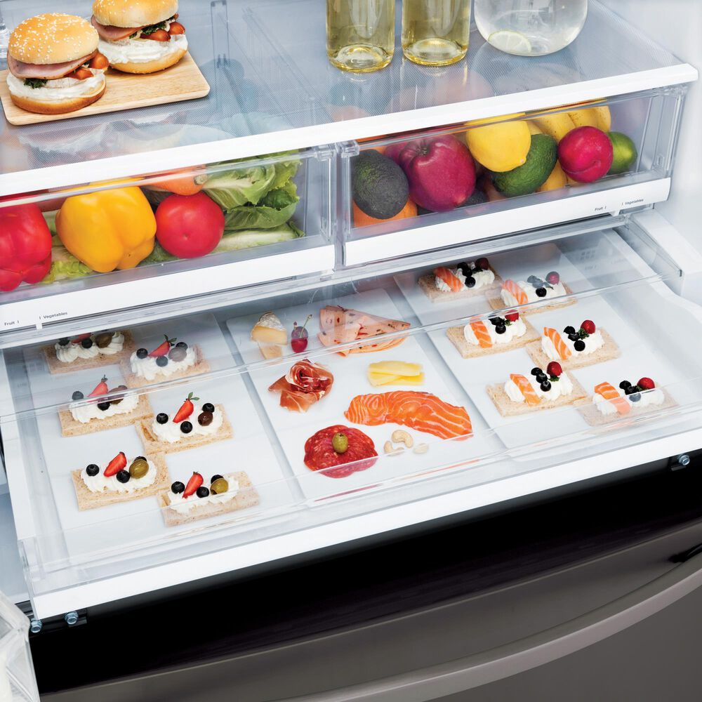 LG 26 Cu. Ft. 3-Door French Door Refrigerator with SmartThinQ in Black Stainless Steel with Dual Icemaker , , large