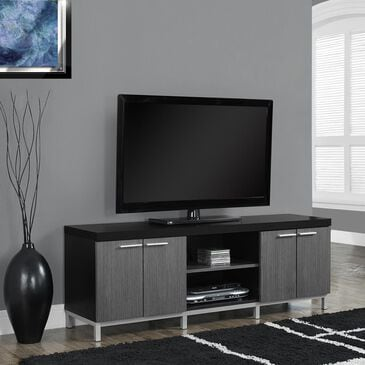 "Monarch Specialties 60"" Hollow-Core TV Console in Black and Grey, , large"