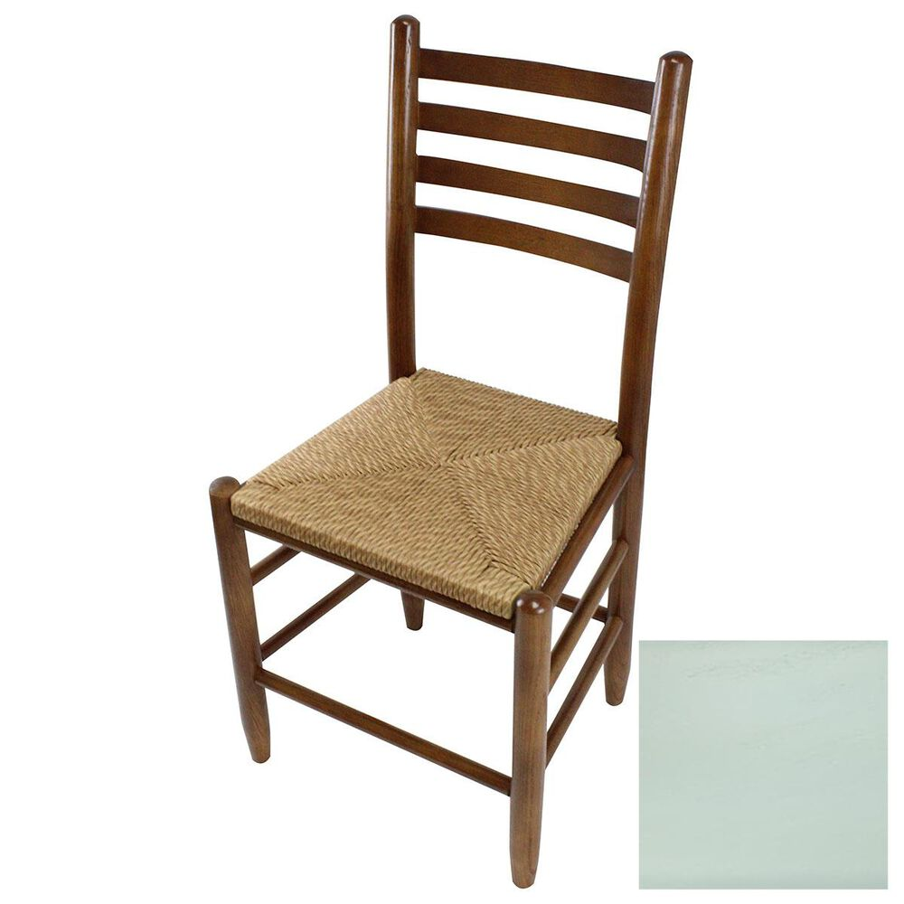 Lakeside Asheville Ladderback Dining Chair with Wicker Seat in Coastal Blue, , large