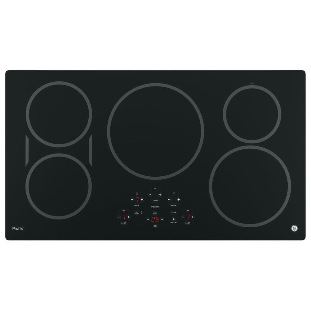 """GE Profile 2- Piece Kitchen Bundle with a 36"""" Induction Cooktop and a 30"""" Built-In Convection Double Wall Oven in Black Stainless Steel, , large"""