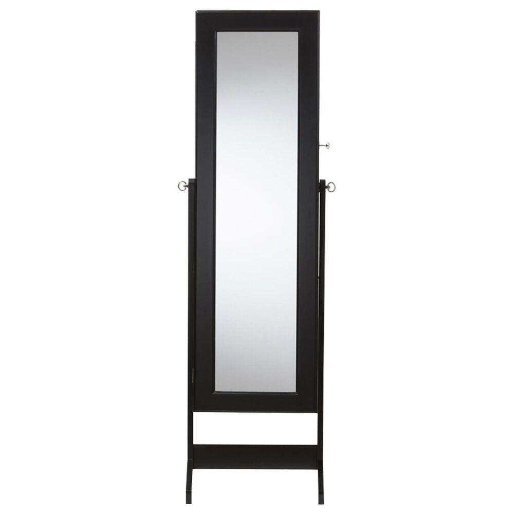 Baxton Studio Elena Cheval Mirror Jewelry Armoire in Black, , large