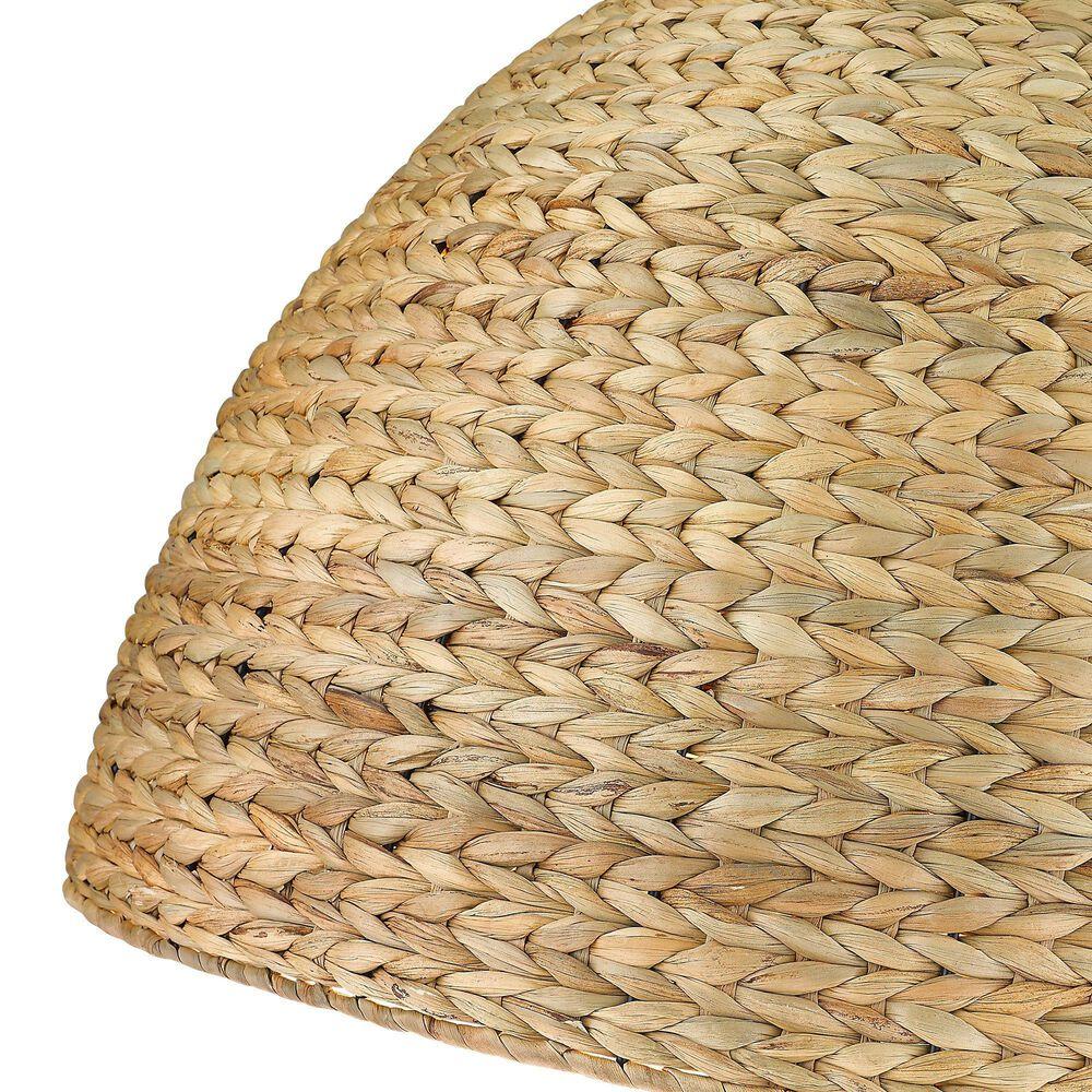 Golden Lighting Rue 8-Light Pendant in Matte Black with Woven Sweet Grass Shade, , large