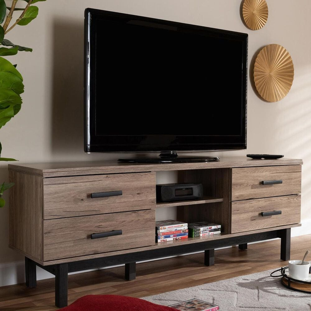 """Baxton Studio Arend 4-Drawer 63"""" TV Stand in Oak and Black, , large"""
