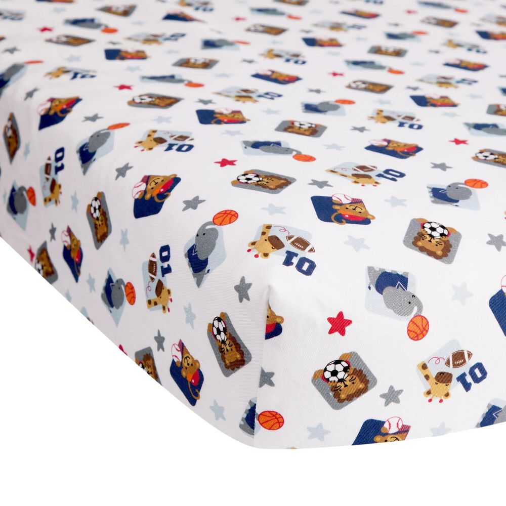 Lambs and Ivy Animal Sports Fitted Crib Sheet in Blue, Gray and White, , large