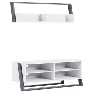 Furniture of America Friedman 2-Piece Entertainment Center in White/Gray, , large
