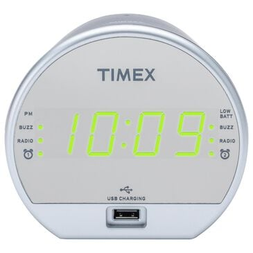 Timex Dual Alarm FM Clock Radio with USB Charging in Black and Mirror, , large
