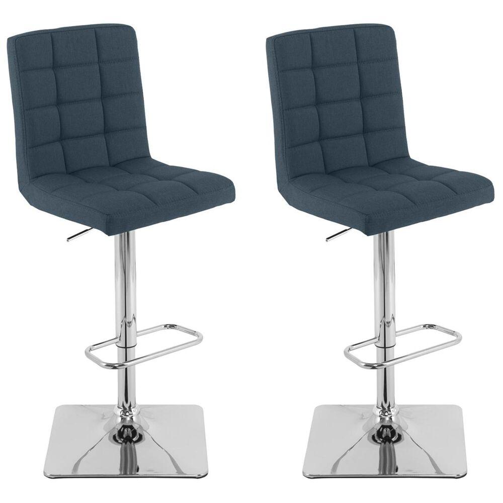 CorLiving Adjustable Square Base Barstool in Dark Blue (Set of 2), , large