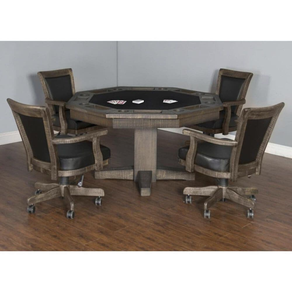Sunny Designs 5-Piece Game with Black Cushion Table Set in Tobacco Leaf, , large