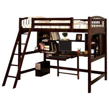 Furniture of America Ingram Twin Loft Bed & Workstation in Espresso, , large