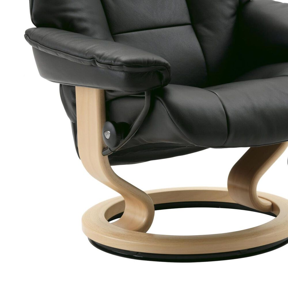 Ekornes Mayfair Large Chair and Ottoman with Natural Base in Paloma Black, , large