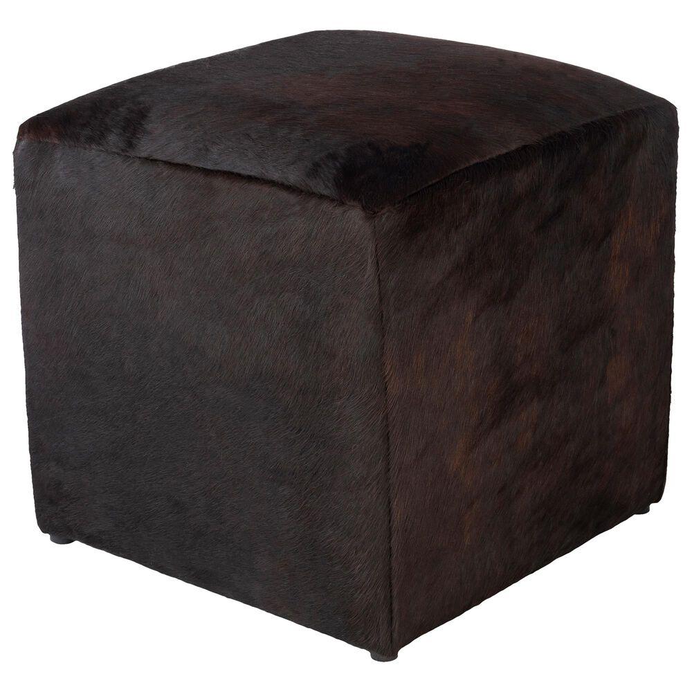 Surya Inc Angus Pouf in Dark Brown, , large