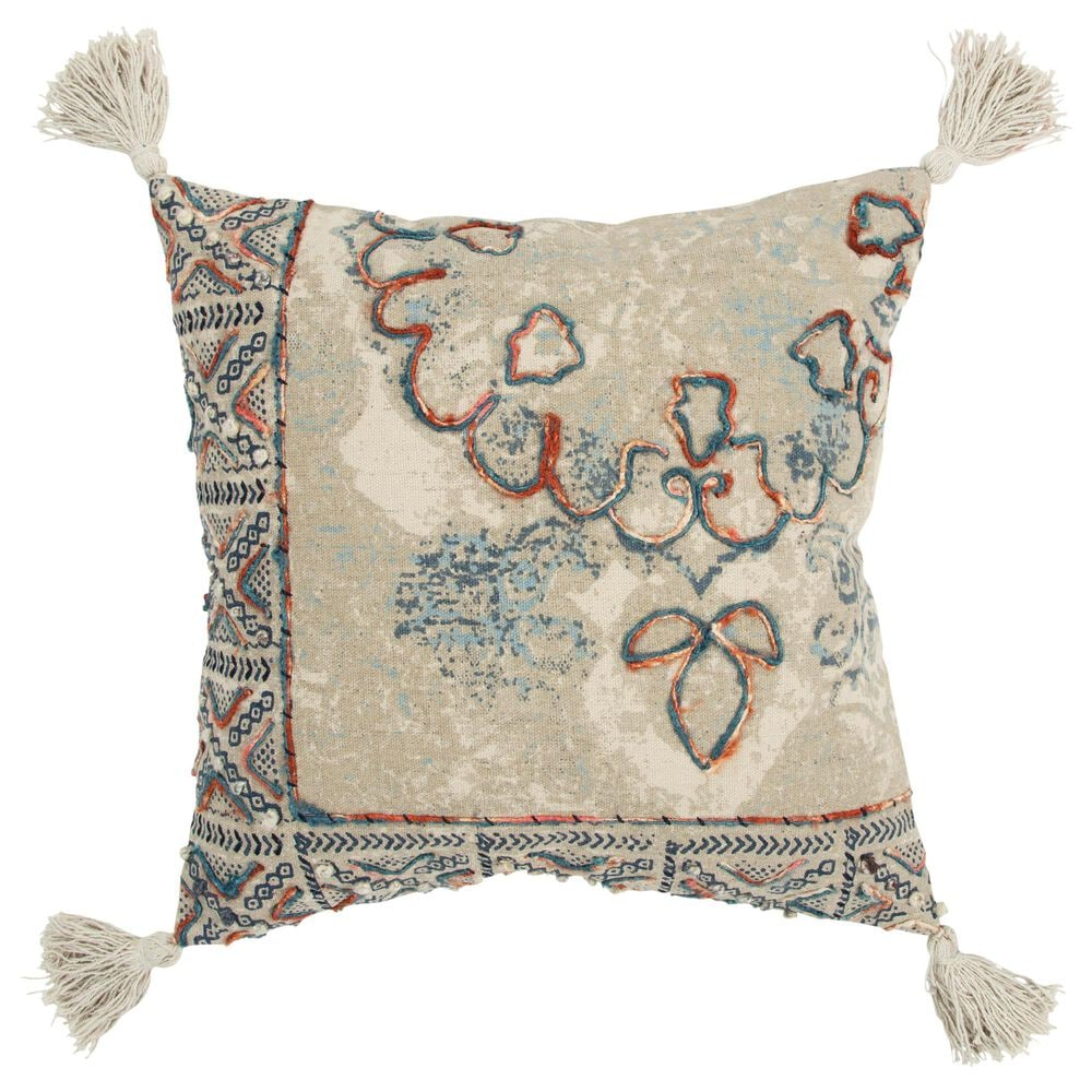 """Rizzy Home Abstract 20"""" Poly Filled Pillow in Natural, , large"""