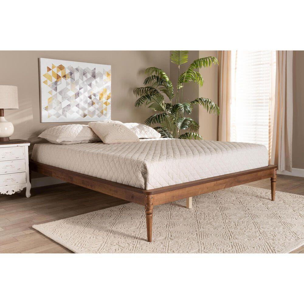 Baxton Studio Tallis Queen Bed Frame in Walnut Brown, , large