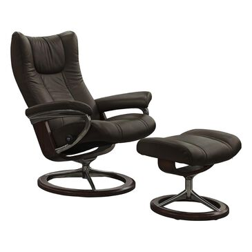 Ekornes Wing Medium Leather Chair and Ottoman in Paloma Chestnut, , large