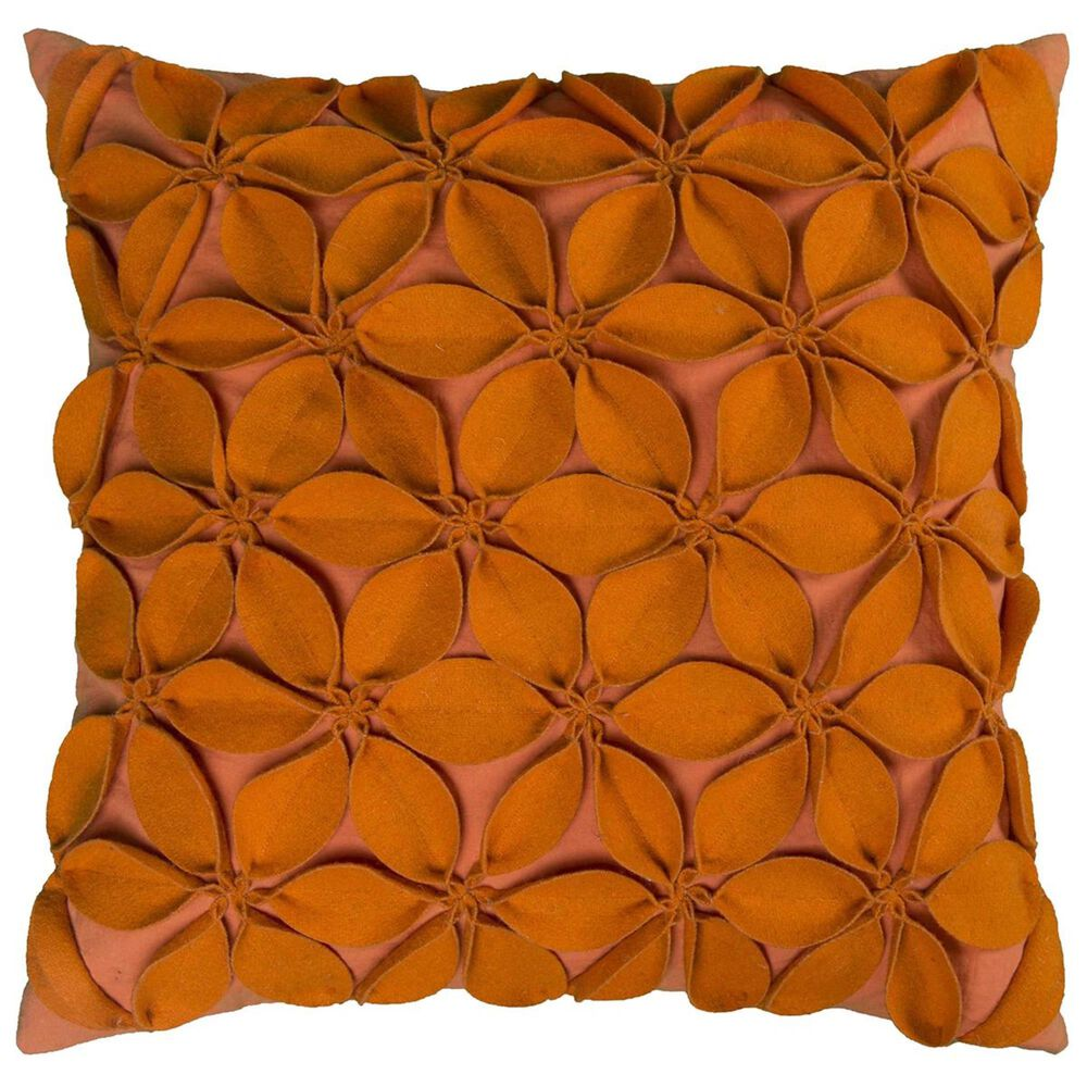 """Rizzy Home 18"""" x 18"""" Pillow Cover in Orange with Flowers Design, , large"""