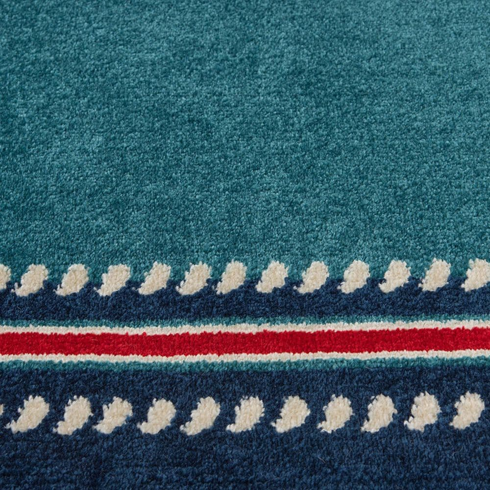 """Central Oriental Terrace Tropic Nautical Border Rope 2347QS.085 5' x 7'3"""" Turquoise and Sapphire Area Rug, , large"""