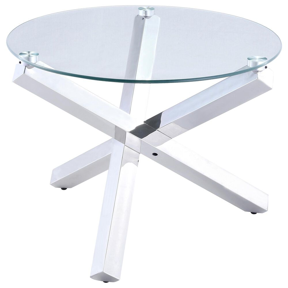 Monroe Round End Table in Stainless Steel, , large