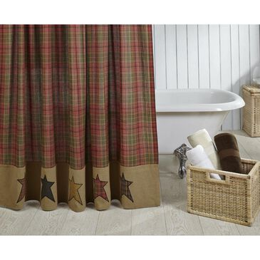"""VHC Stratton 72"""" x 72"""" Shower Curtain in Red, Green and Tan, , large"""
