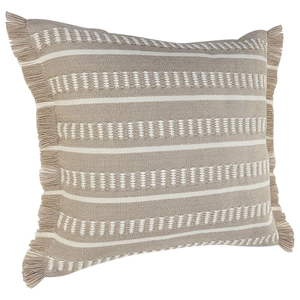 """L.R. RESOURCES Dash 24"""" x 24"""" Outdoor Pillow in Taupe and White, , large"""