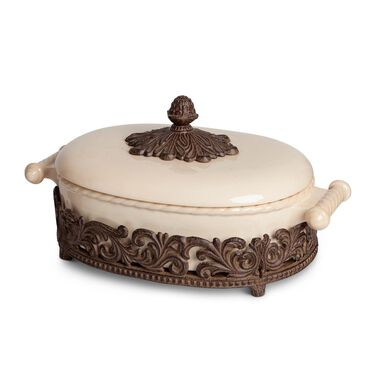 The Gerson Company GG Collection Covered Casserole with Metal Base in Cream, , large