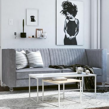 DHP Arabelle Convertible Futon in Light Gray Velvet, , large