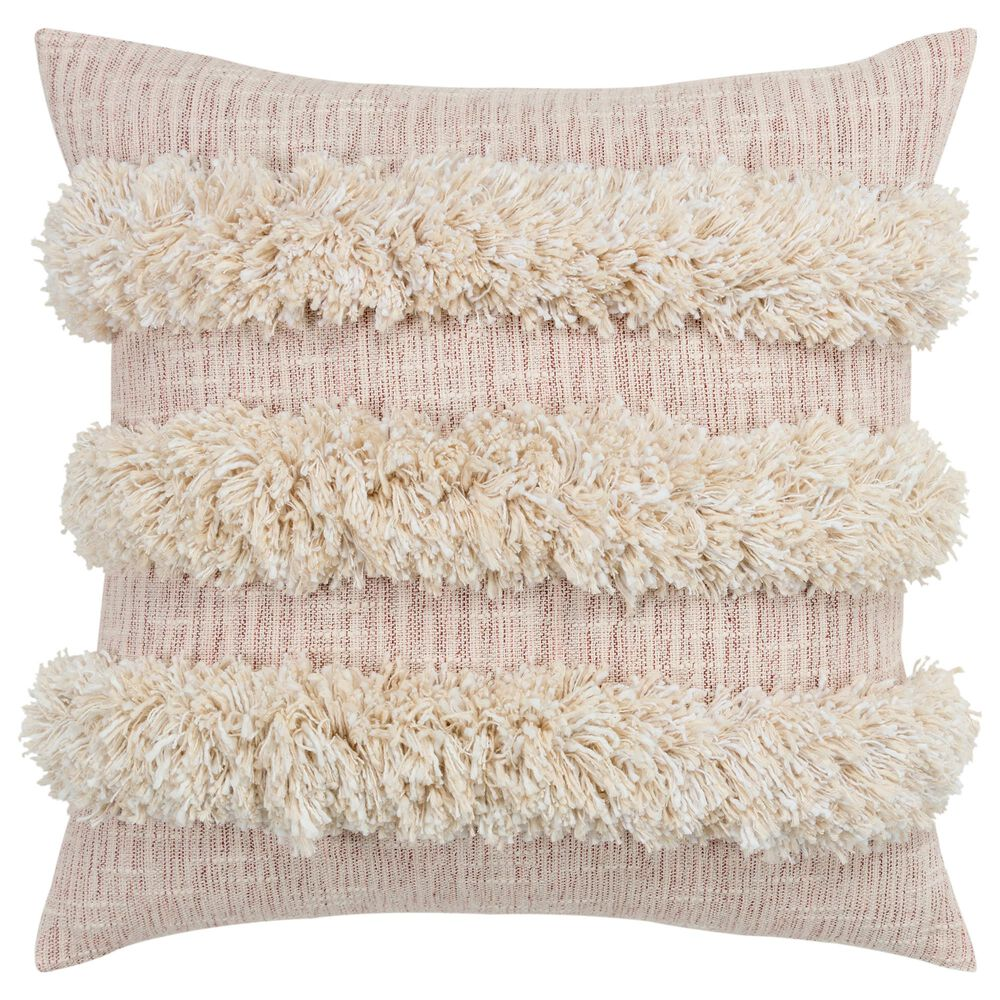 """Rizzy Home Donny Osmond 20"""" Poly Filled Pillow in Cream and Blush, , large"""