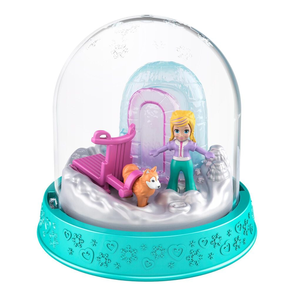 Mattel Polly Pocket Holiday Snow Globe Igloo and Sled Dog, , large