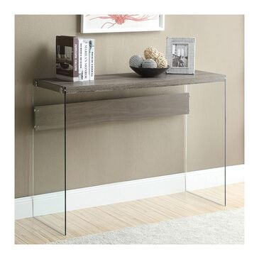 Monarch Specialties Reclaimed-Look with Tempered Glass Sofa Table In Dark Taupe, , large