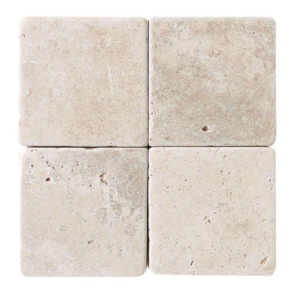 "Dal-Tile Travertine 4"" x 4"" Tumbled Field Tile in Baja Cream, , large"