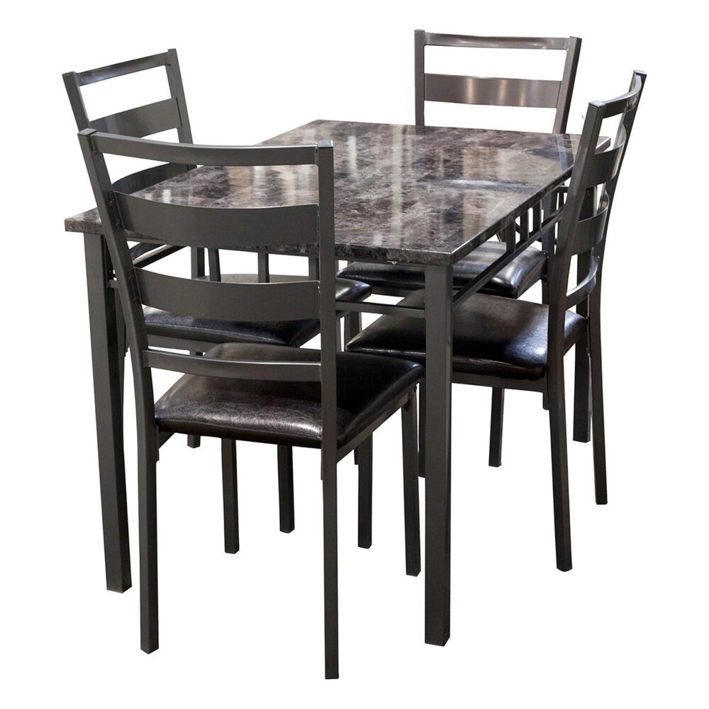 Titanic Furniture 5-Piece Dining Set in Faux Marble and Gray, , large