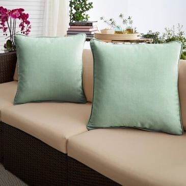 """Sorra Home Sunbrella 18"""" Pillow in Canvas Spa (Set of 2), , large"""