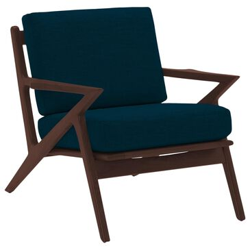 Joybird Soto Apartment Chair in Key Largo Zenith Teal Cushion and Walnut, , large