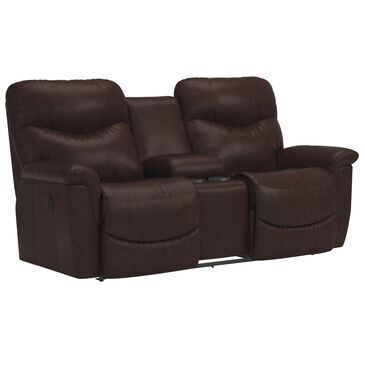La-Z-Boy James Leather Manual Reclining Console Loveseat in Walnut, , large