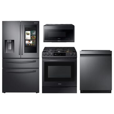 Samsung 4-Piece Kitchen Package with 28 Cu. Ft. 4-Door French Door and Pocket Handle Dishwasher in Black Stainless Steel, , large