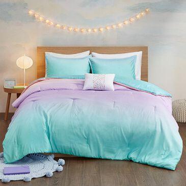 Hampton Park Glimmer 4-Piece Full/Queen Comforter Set in Aqua, , large