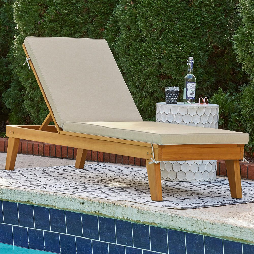 Signature Design by Ashley Byron Bay Chaise Lounge with Beige Cushion in Light Brown, , large