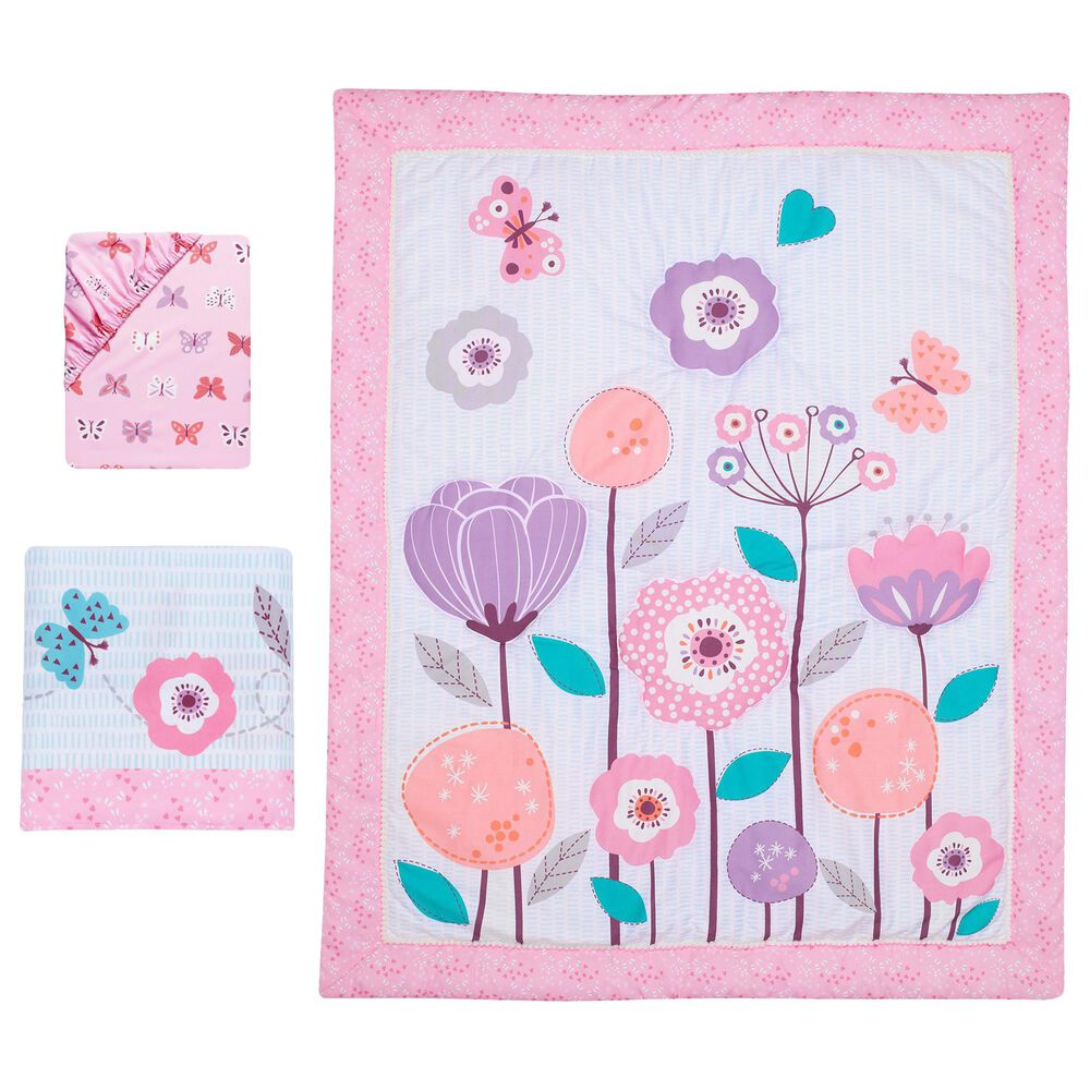Lambs and Ivy Magic Garden 3-Piece Floral Crib Bedding Set, , large