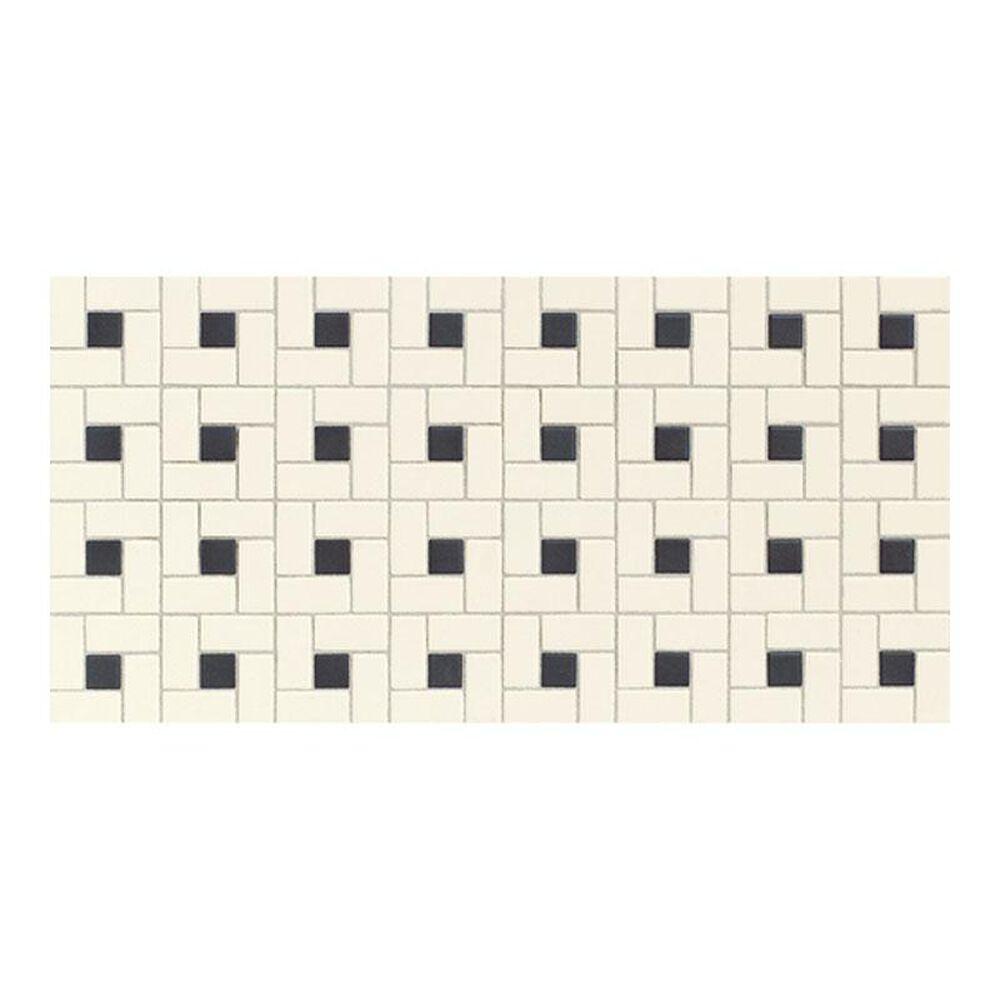 "Dal-Tile Keystone Blends Biscuit/Black Dot Windmill 12"" x 24"" Ceramic Mosaic Sheet, , large"