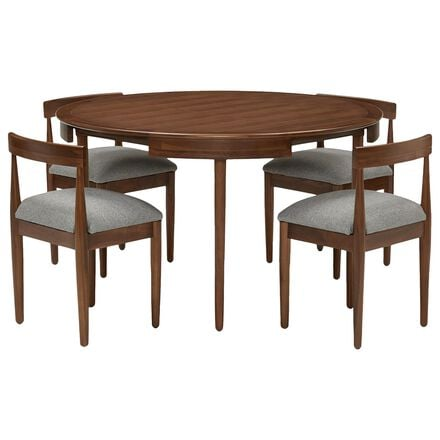 Joybird Toscano Dining Set with Taylor Felt Grey Cushion in Walnut