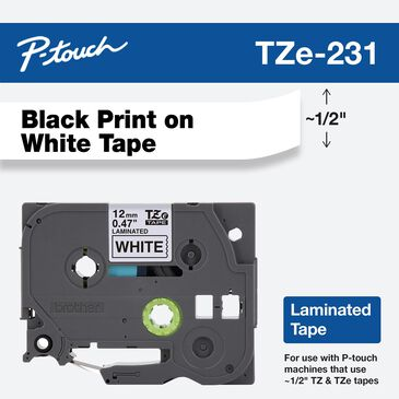 Brother 12mm Tape in Black on White for P-Touch, , large