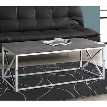 Monarch Specialties Coffee Table in Grey and Chrome, , large