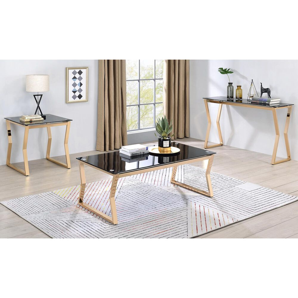 Furniture of America Atkinson 2-Piece Coffee Table Set in Gold and Black, , large